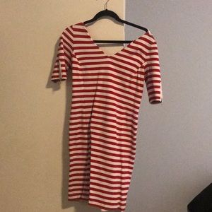 Red and white striped T-shirt dress